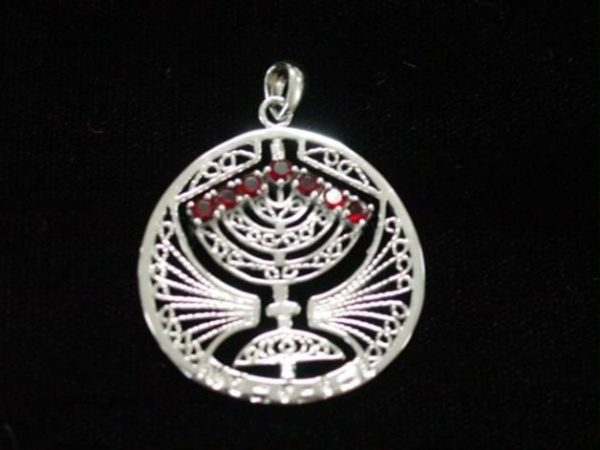 PND-MEN Pendant-Menorah red/blue Stones -0