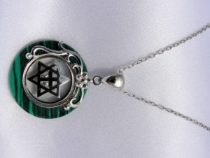 Spinning Star of David Green Malachite Necklace-0